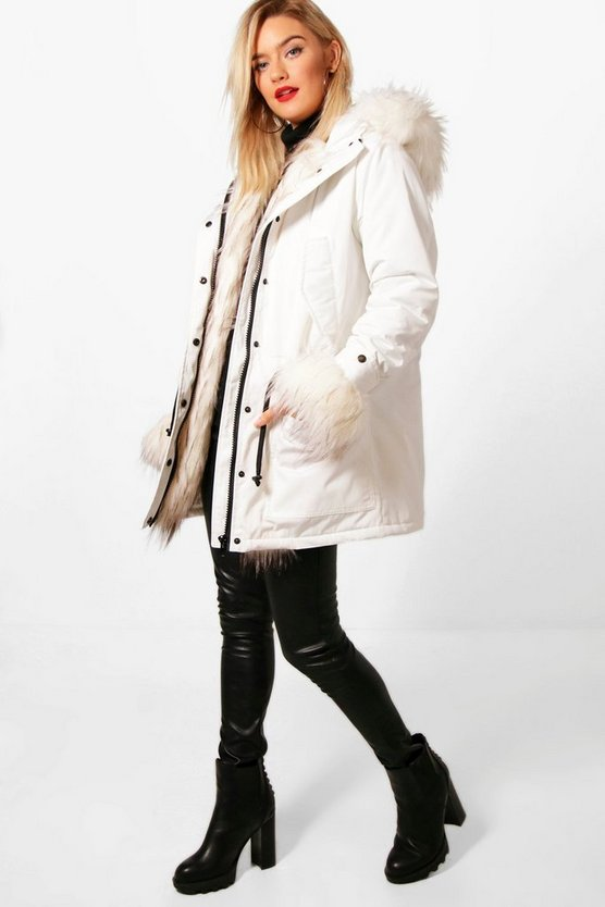 Faux Fur Trim Hooded Sporty Parka