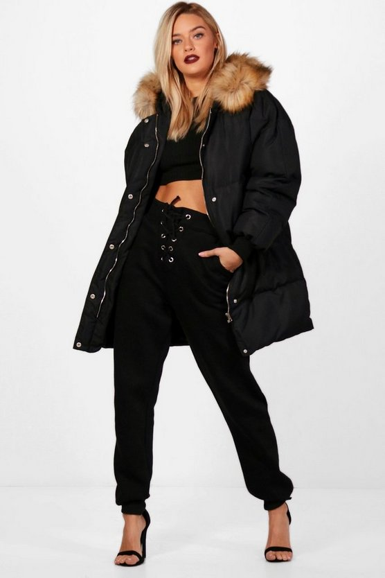 Boutique Padded Coat With Faux Fur Trim