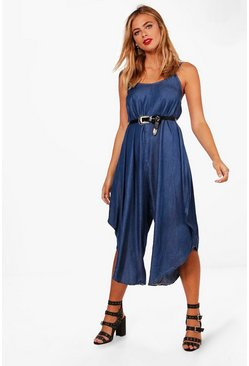 Womens Indigo Everly Denim Look Harem Jumpsuit