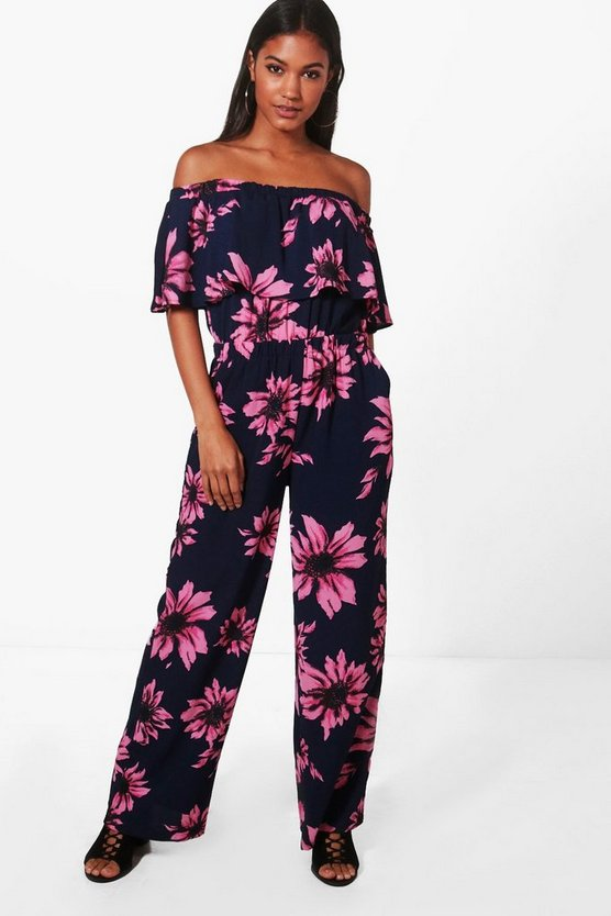Isla Floral Frill Off Shoulder Jumpsuit
