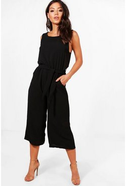 Womens Black Culotte Jumpsuit