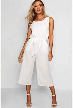 Womens Ivory Culotte Jumpsuit