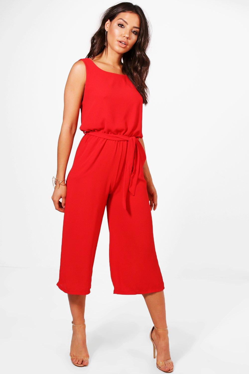 red Jumpsuit Culotte Culotte red Jumpsuit Culotte red Jumpsuit qw10O6w