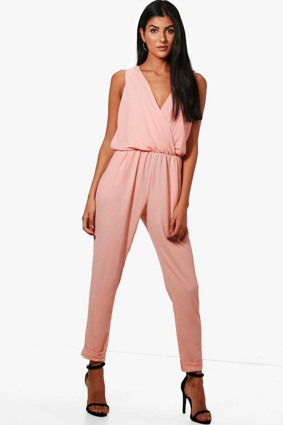 Wrap Front Jumpsuit, Pink, MUJER