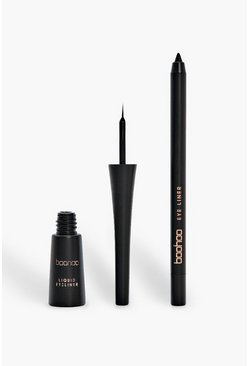 Womens Black Boohoo Liquid Eyeliner And Pencil Kit