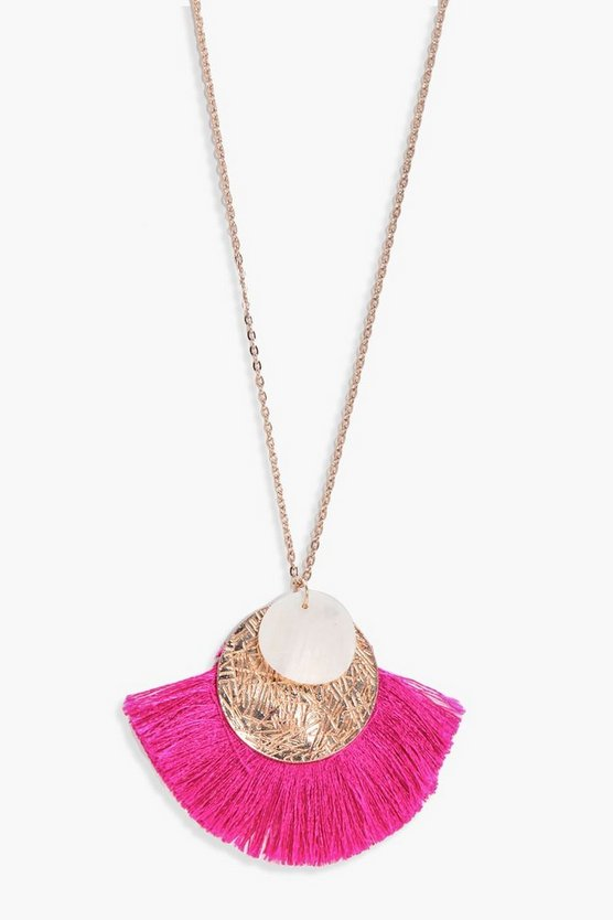 Lilly Coin And Fringed Detail Necklace