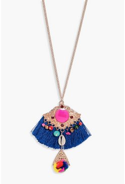 Womens Gold Sofia Fringed Pom Pom Shell Necklace