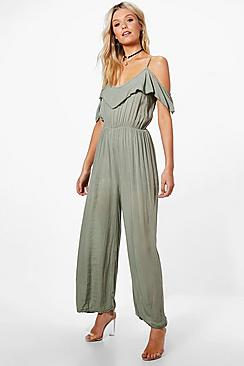 Vintage High Waisted Trousers, Sailor Pants, Jeans Olivia Open Shoulder Wide Leg Jumpsuit $42.00 AT vintagedancer.com