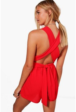 Red Plunge Front Tie Back Playsuit
