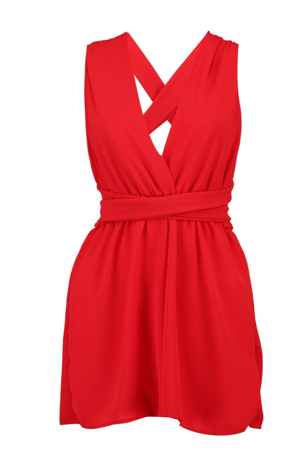 Front Playsuit Plunge Back Tie red YHaXBw