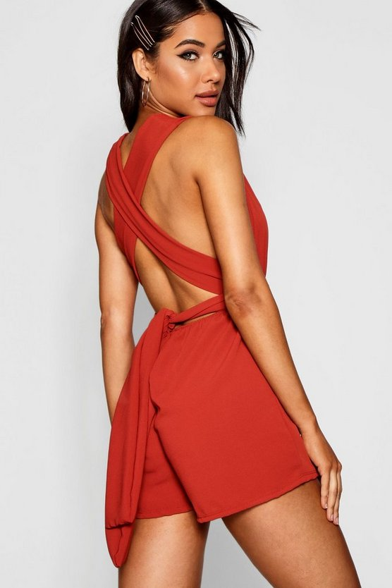 Plunge Front Tie Back Playsuit