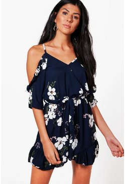 Womens Navy Floral Cold Shoulder Ruffle Romper