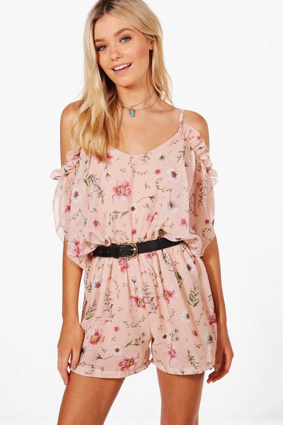 Sorayah Ruffle Floral Cold Shoulder Playsuit
