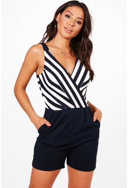 Striped Plunge Wrap Front Playsuit, Navy