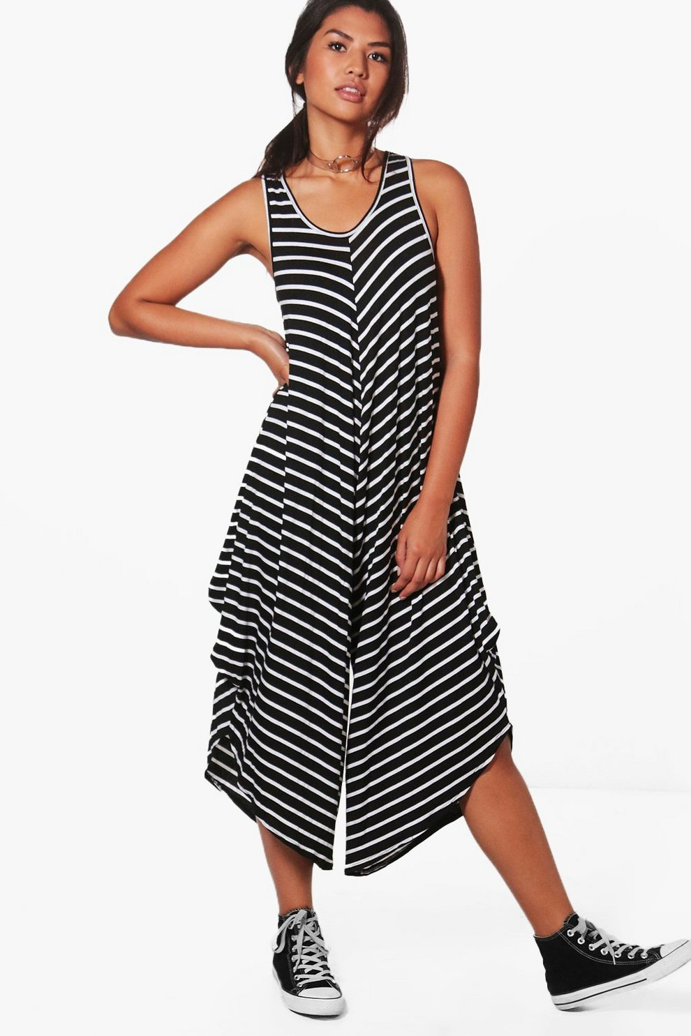 f7930039bb4d Womens Black Lola Striped Harem Jumpsuit
