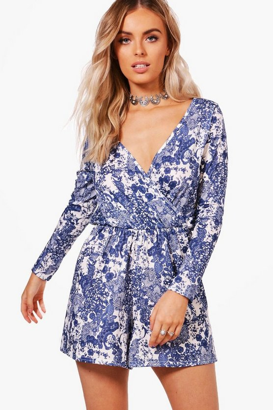 Porcelain Print Wrap Playsuit