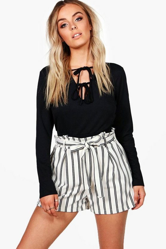 Striped Tie Belt Smart Shorts