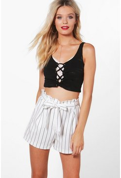 Striped Tie Belt Shorts, Ivory, MUJER