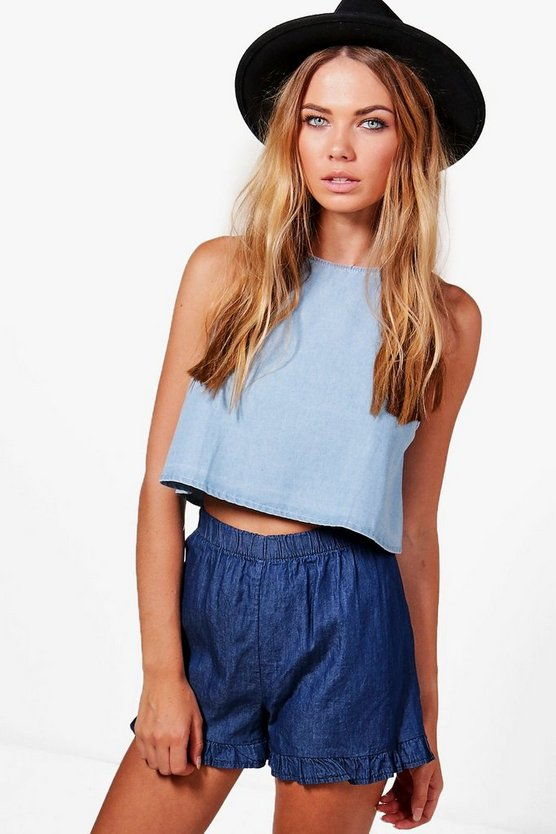 Maisie Denim Look Ruffle Hem Shorts