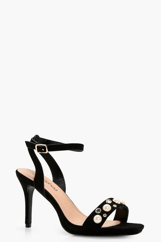 Wide Fit Pearl Two Part Sandals | Boohoo