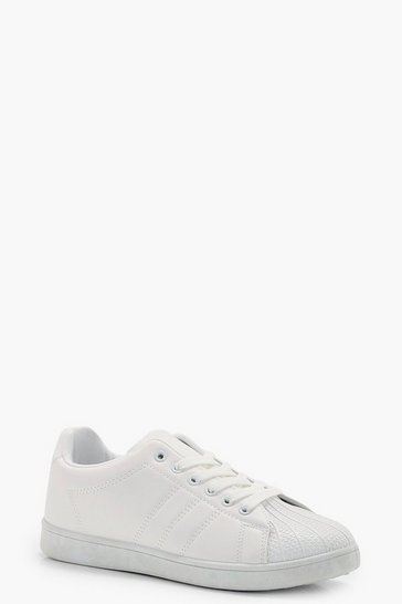 Womens White Lace Up Trainers
