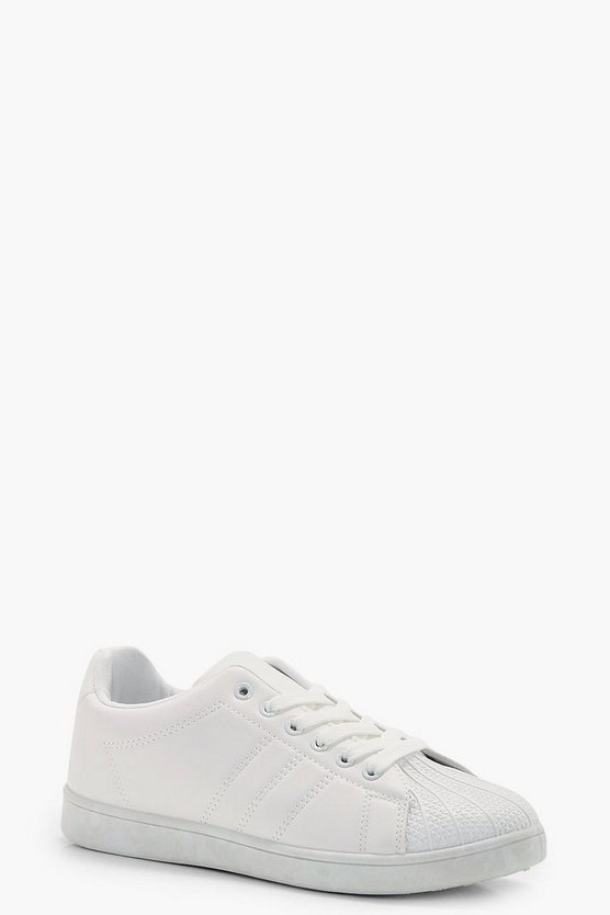 Lace Up Trainers, White, Donna