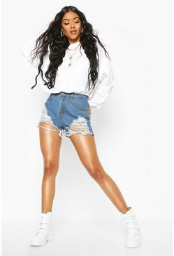 Dark blue High Waist Graduated Distress Denim Shorts