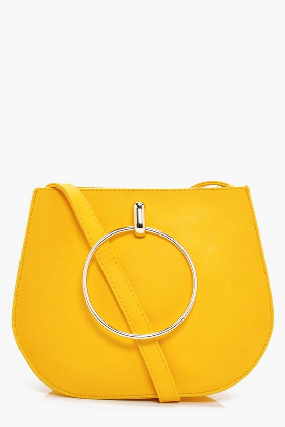 Womens Yellow Jodie Large Ring Saddle Cross Body Bag