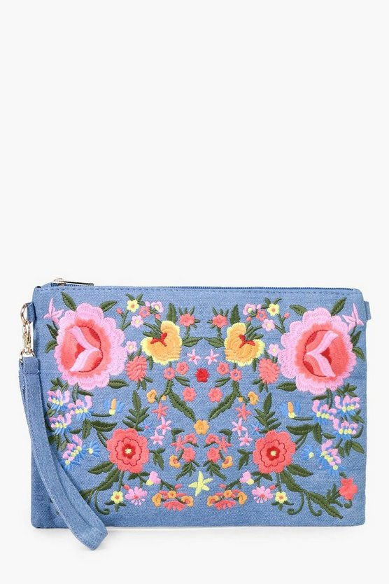 Lisa All Over Embroidered Denim Clutch