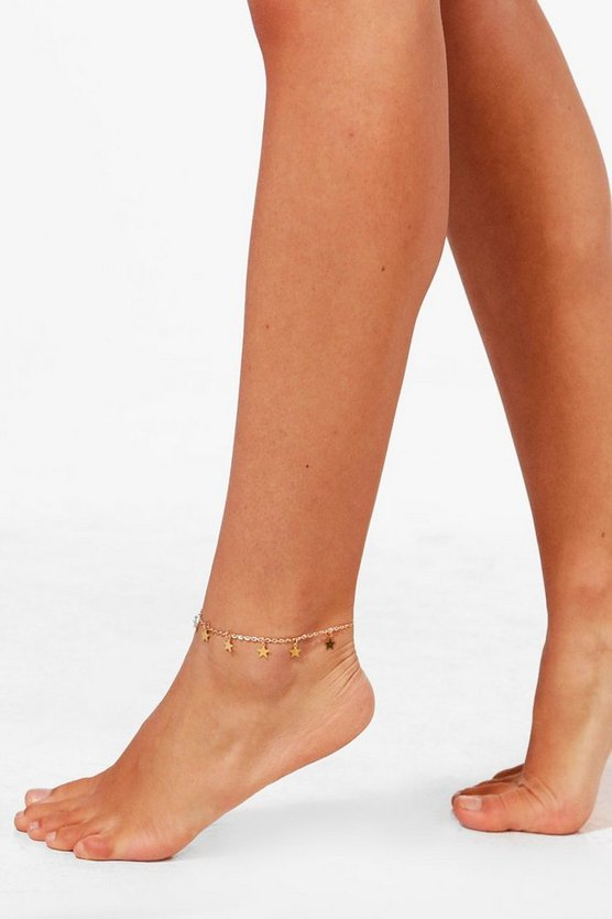 Womens Gold Star Charm Anklet