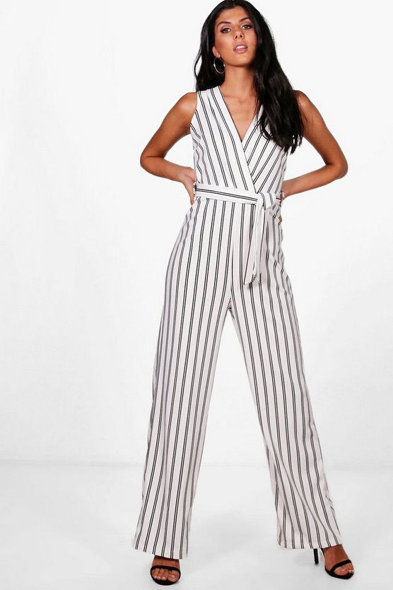 Wrap Over Wide Leg Striped Jumpsuit