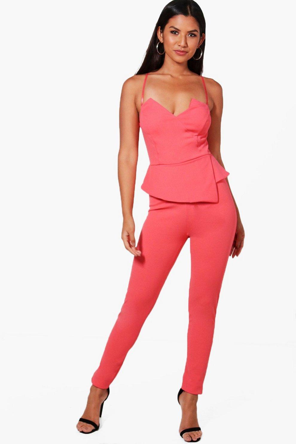 8f451b9e9c2e Maya Peplum Style Skinny Leg Jumpsuit