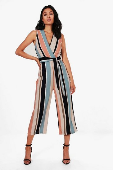 Womens Multi Striped Tie Belt Culotte Jumpsuit