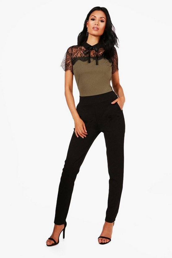 Aubree Lace Trim Tie Neck Jumpsuit