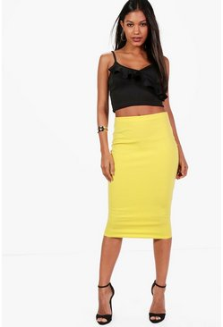 Womens Lemon Freya Basic Pastel Scuba Midi Skirt