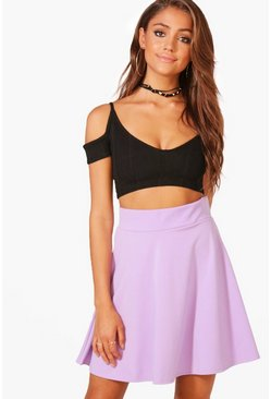 Womens Lilac Basic Fit & Flare Highwaist Mini Skirt