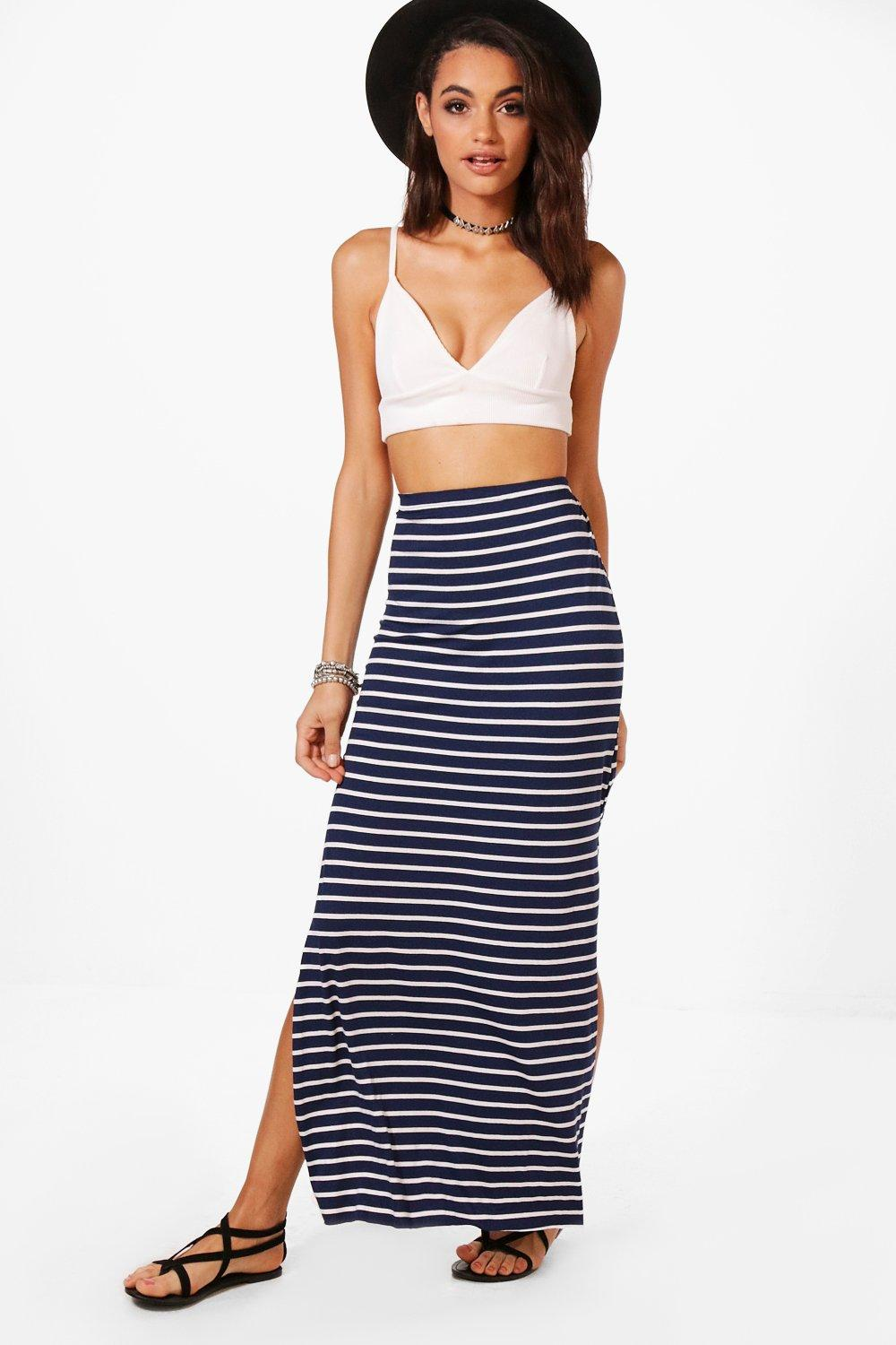 e0ec92c9f ... Striped Jersey Maxi Skirt. Hover to zoom