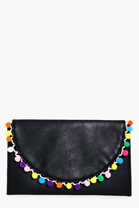 Womens Black Sophie Pom Pom Trim Clutch Bag