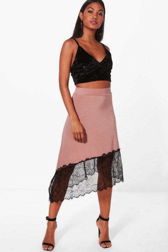 Nadina Eyelash Lace Trim Midi Skirt