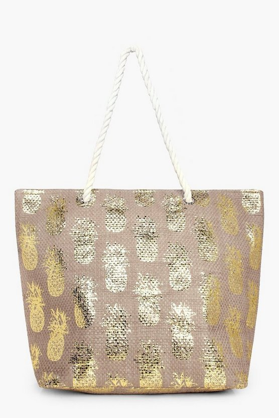 Megan Metallic Pineapple Straw Beach Bag