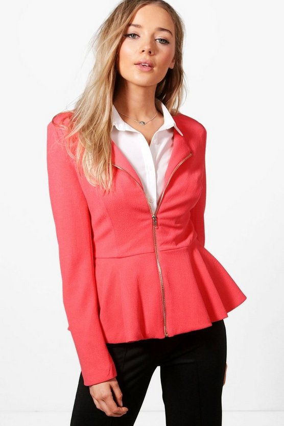 Harriet Lined Zip Up Peplum Blazer