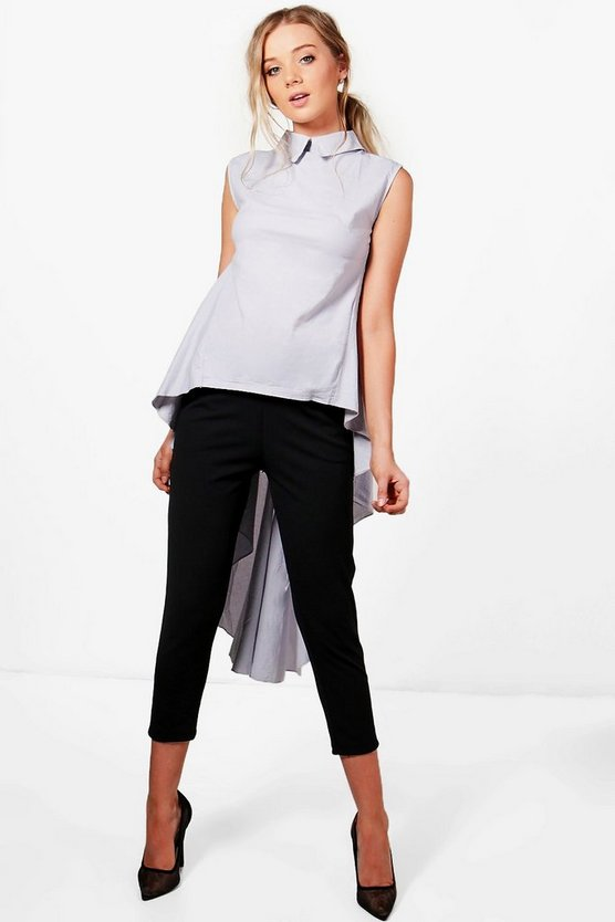 Collared High Low Shirt