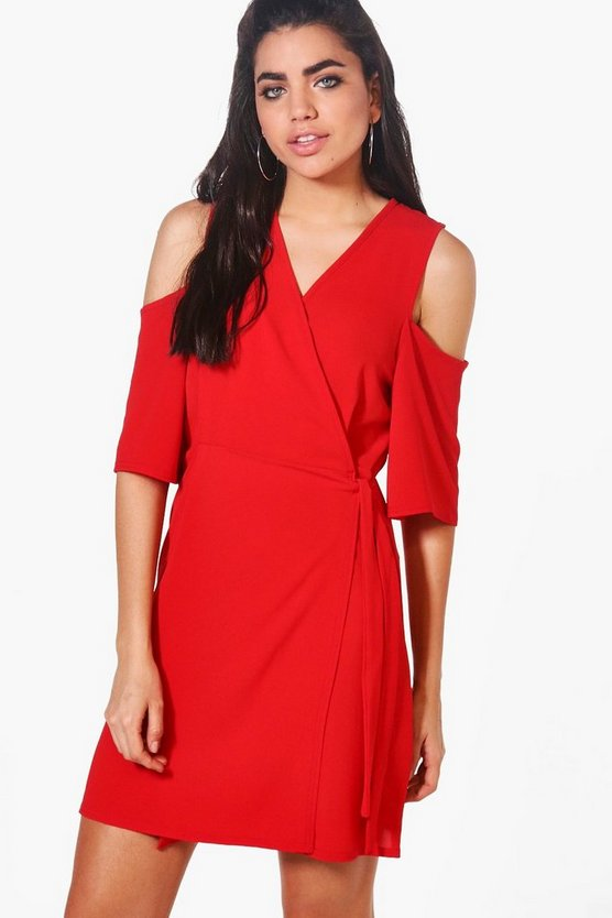 Esme Cold Shoulder Woven Wrap Dress