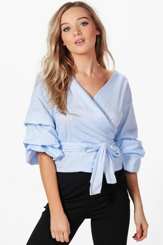Ruffle Sleeve Wrap Gingham Shirt