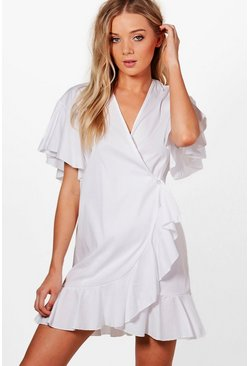 Womens Harriet Ruffle Shirt Wrap Dress
