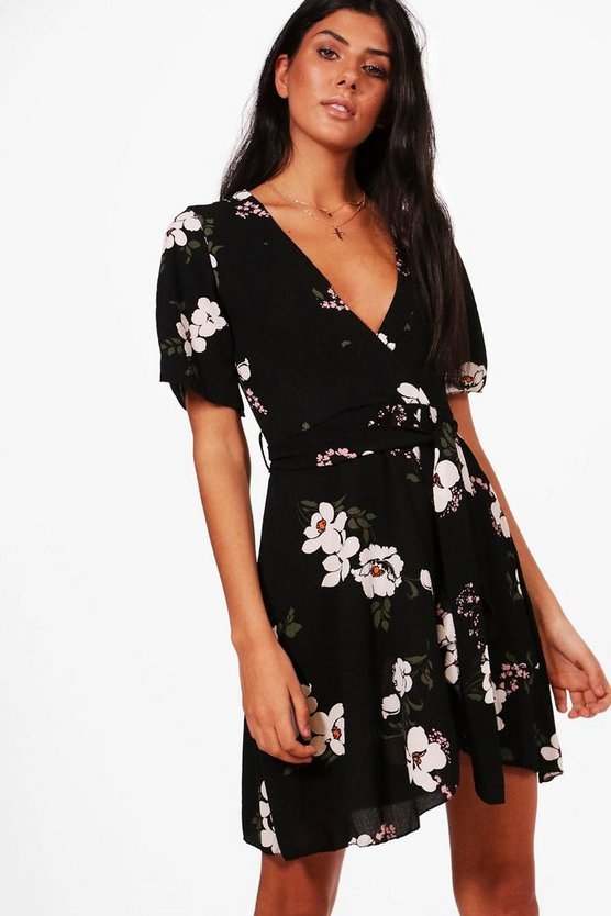 Womens Black Floral Ruffle Tea Dress