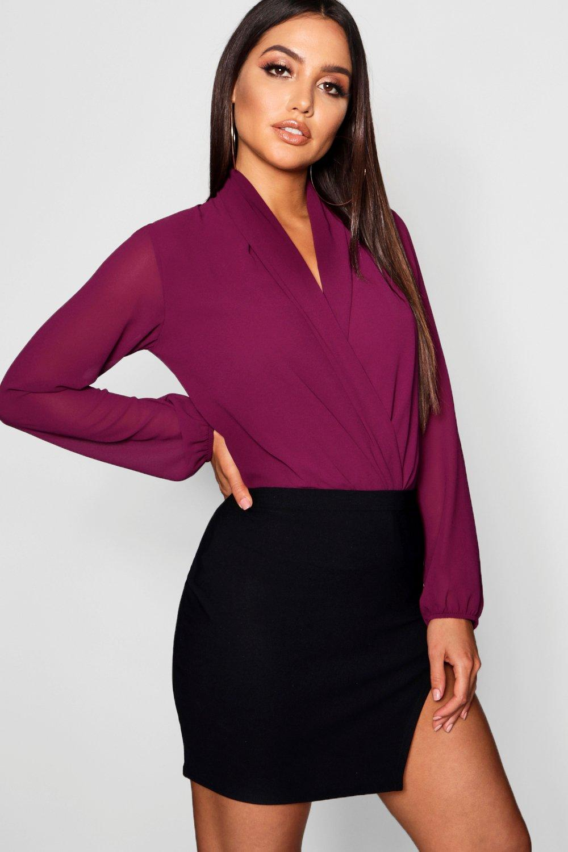 manga tejido Body drapeado larga de purple chifón con jewel dXwPxFqw6