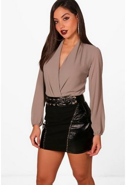 Womens Mocha Drape Chiffon Long Sleeve Bodysuit