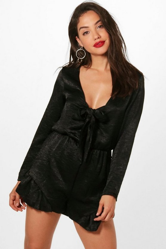 Bow Front Satin Wrap Playsuit