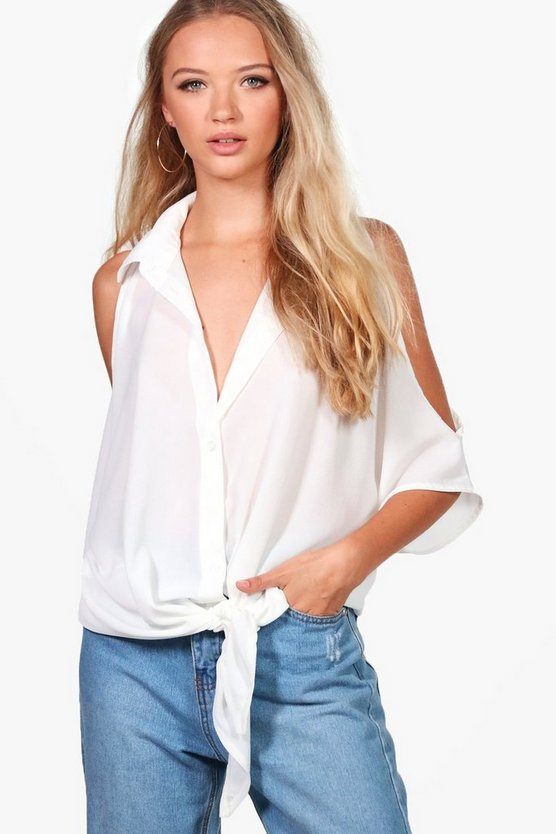 Esme Cold Shoulder Knot Blouse